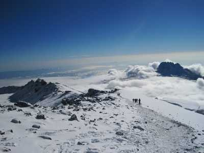 Treking on Kilimanjaro plateau, between clouds and snow