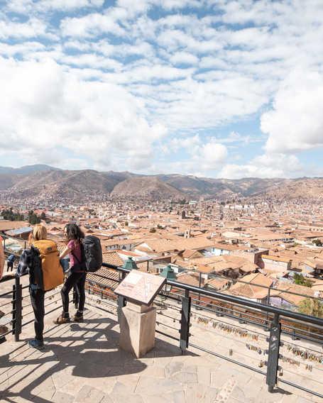 Hikers enjoying the city of Cusco