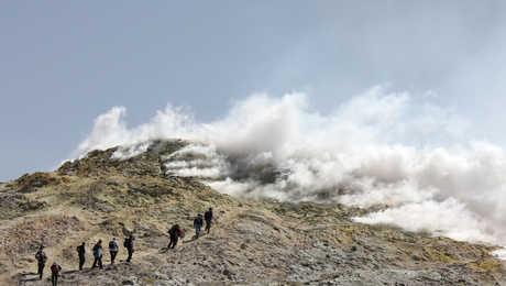 Hikers in Mount Etna in Sicily