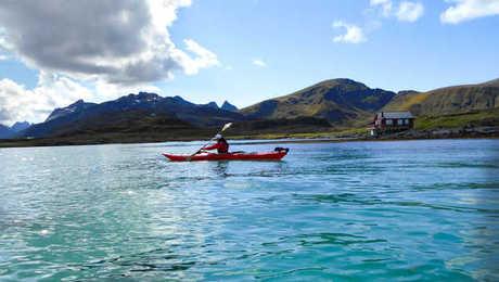 Kayaking in fjords, Northern Norway
