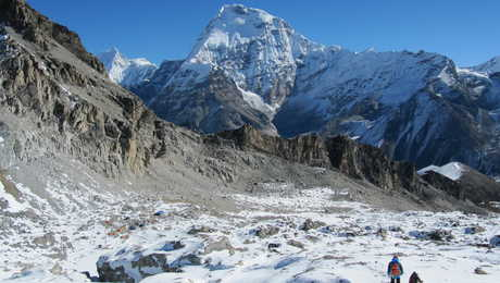 Trekkers in front of the Everest