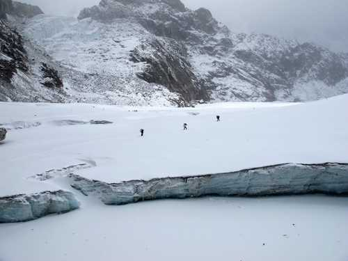 Hikers crossing Cho la Pass in the Khumbu region