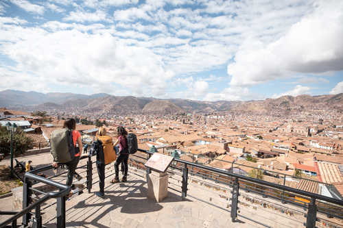 Hikers enjoying the city of Cusco