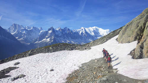 Hikers in front of the Mont Blanc massif