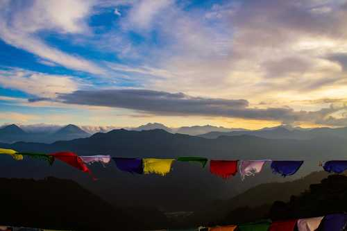 Prayer flags in Chele La Pass, Bhutan