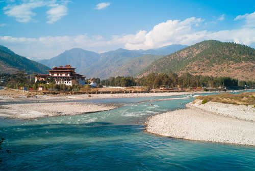 Temple overlooking the river in Punakha, Bhutan