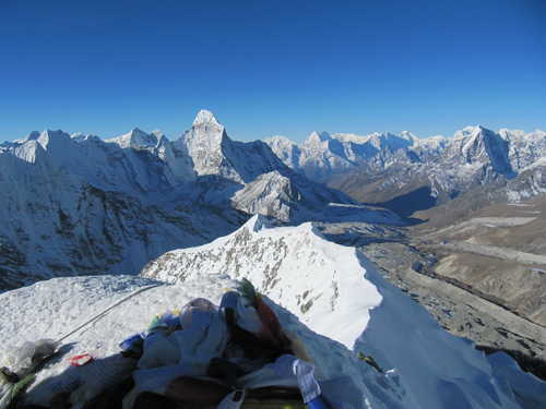 View from the summit of the Island Peak, Nepal