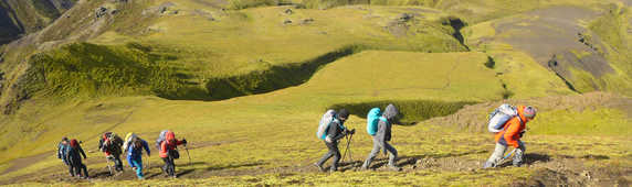 Group hikers in Thorsmork in South of Iceland