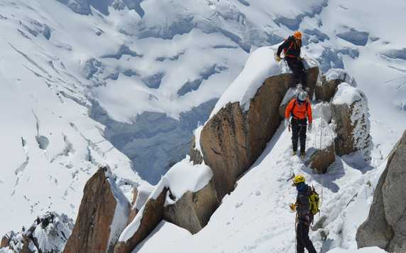 Climbers on their way to the Mont Blanc
