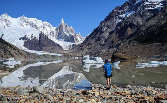 Hiker in Cerro Torre, Patagonia