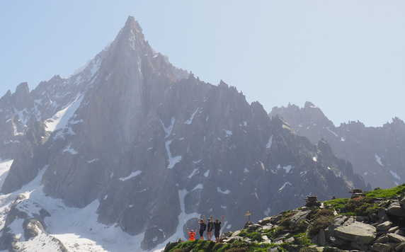 Hikers during the Tour du Mont Blanc in the French Alps