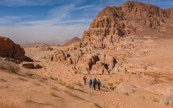 Hiking in the Wadi Rum desert in Jordan