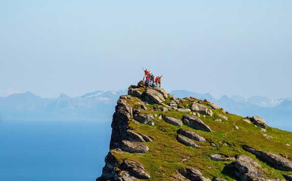 Hiking on summit of Lofoten