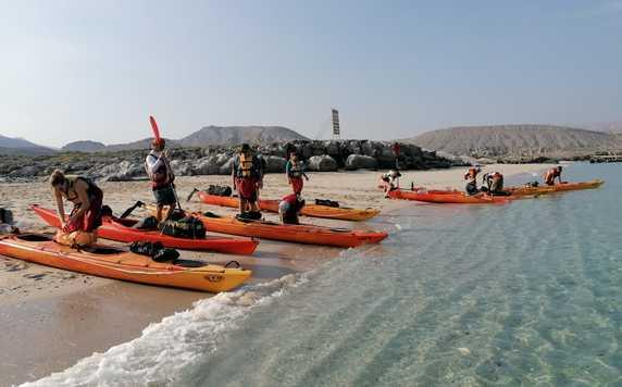 Kayaking departure in the Musandam fjords