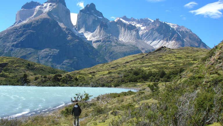 Hiker in Torres del Paine National Park
