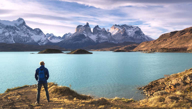 Hiker in Torres del Paine National Park