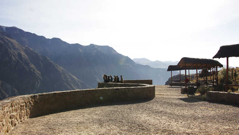 Hikers at a viewpoint in the Colca Valley