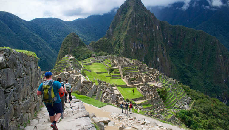 Hikers visiting Machu Picchu lost city
