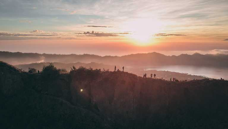 Hiking at Mount Batur at sunrise