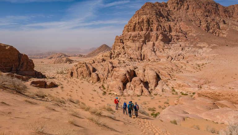 Hiking in the Wadi Rum desert in Jordan