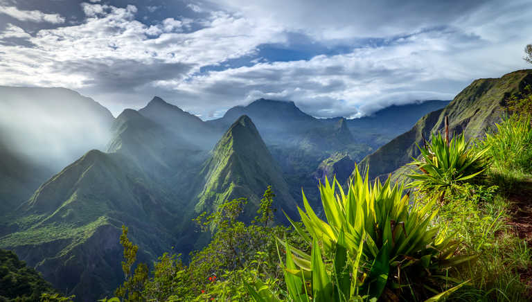 Jagged landscape on Reunion Island