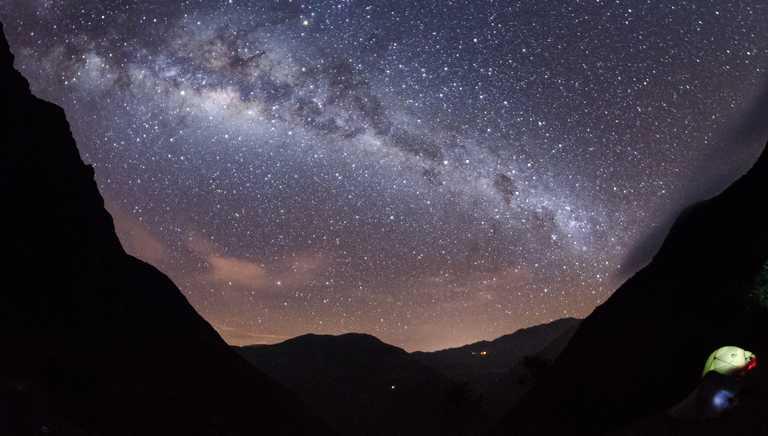 Milky way at night during the Choquequirao trek
