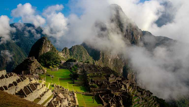 Mystical Machu Picchu through clouds