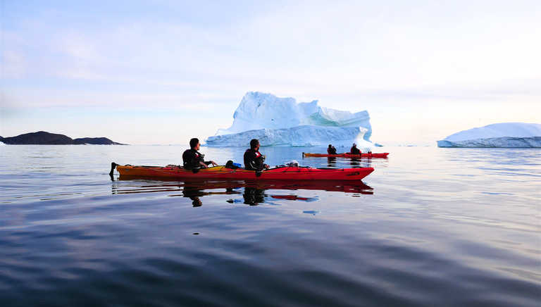 Sea kayaking and icebergs in Arctic