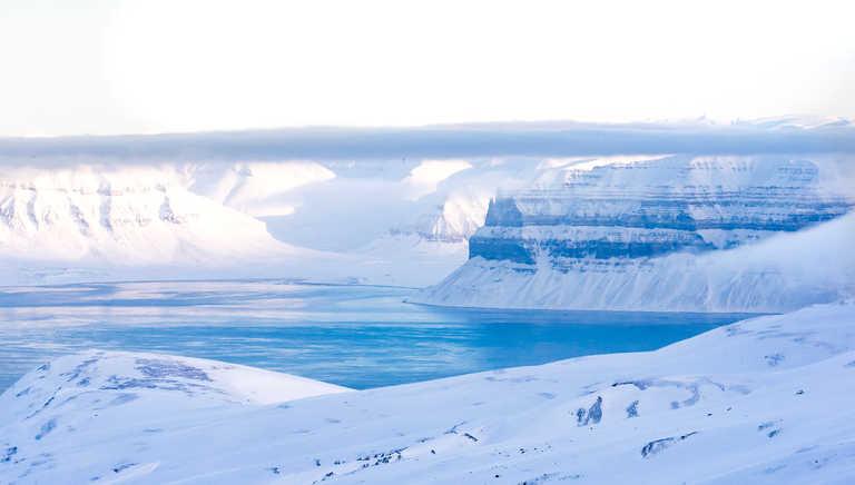 Templefjord in Spitsbergen during Winter