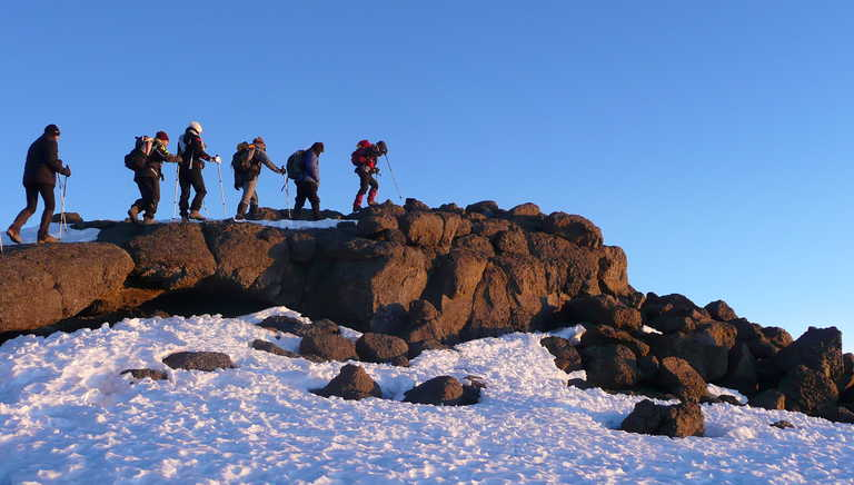 Trekkers getting closer to the Uhuru peak