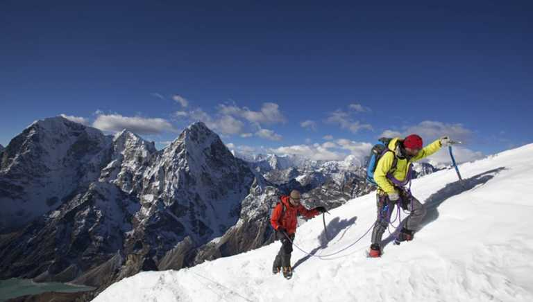 Trekkers on their ascent to the Island Peak