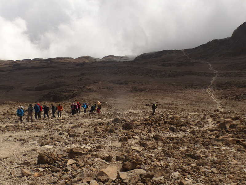 Group of hikers before the Barafu camp