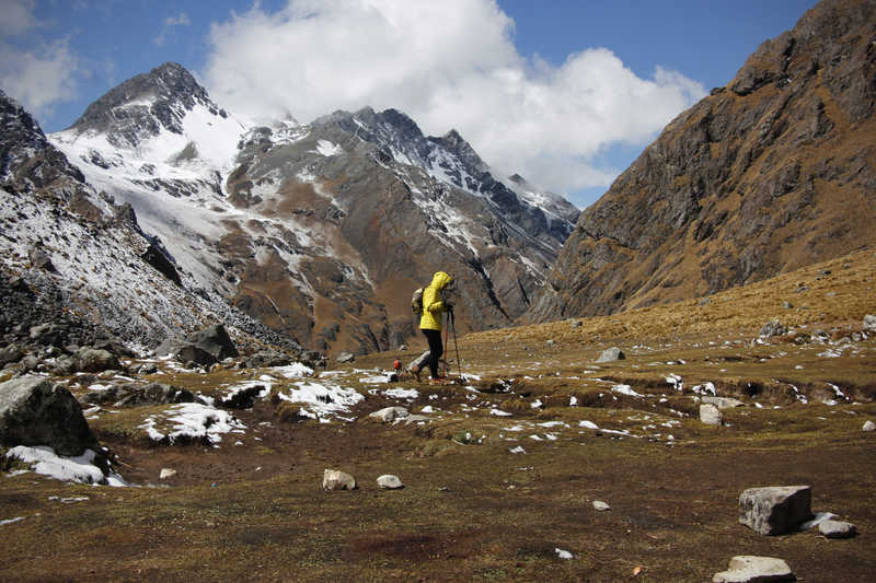 Hiker during the Salkantay Trek