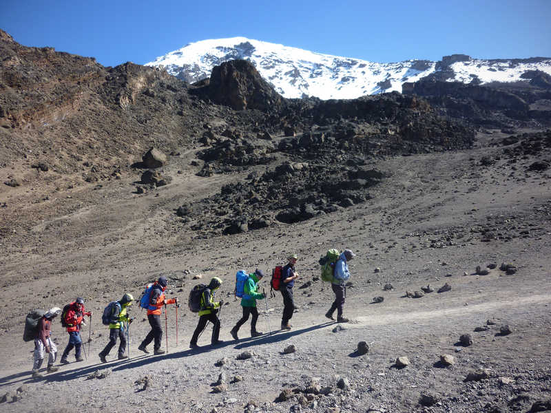 Hikers during the Kilimanjaro ascent