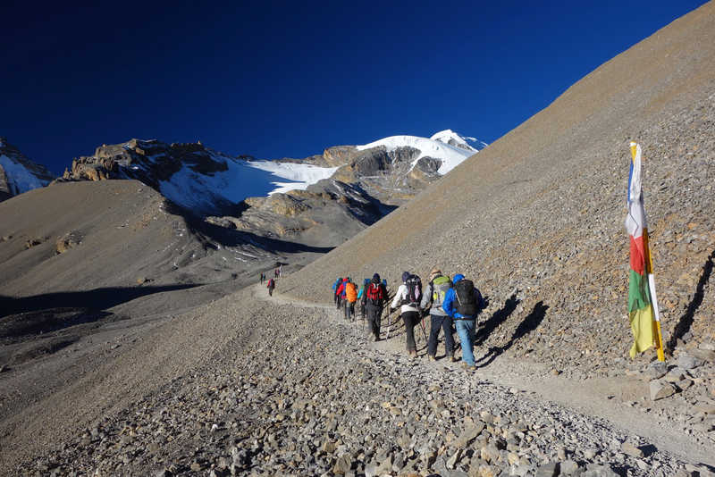 Hikers in Thorong, during the Annapurnas Tour