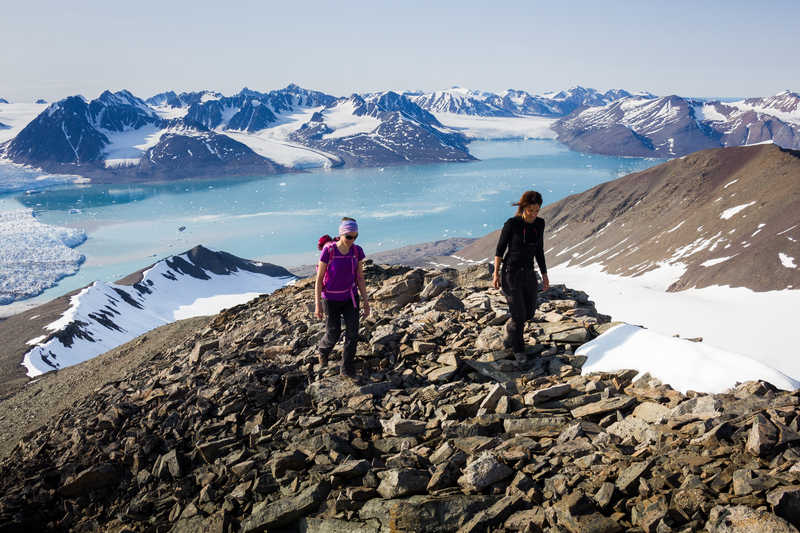 Hiking in summits of Spitsbergen, Arctic