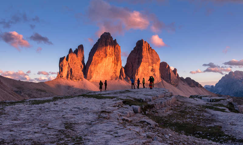 Sunrise on the Tre Cime di Lavaredo in the Dolomites