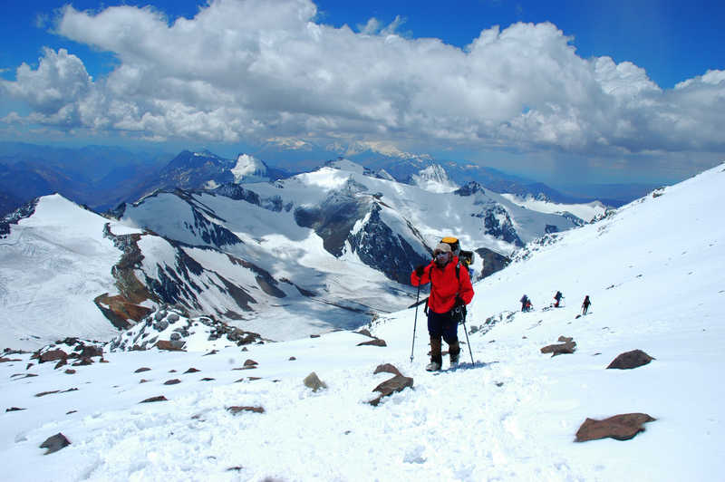 Hiker during the Aconcagua ascent