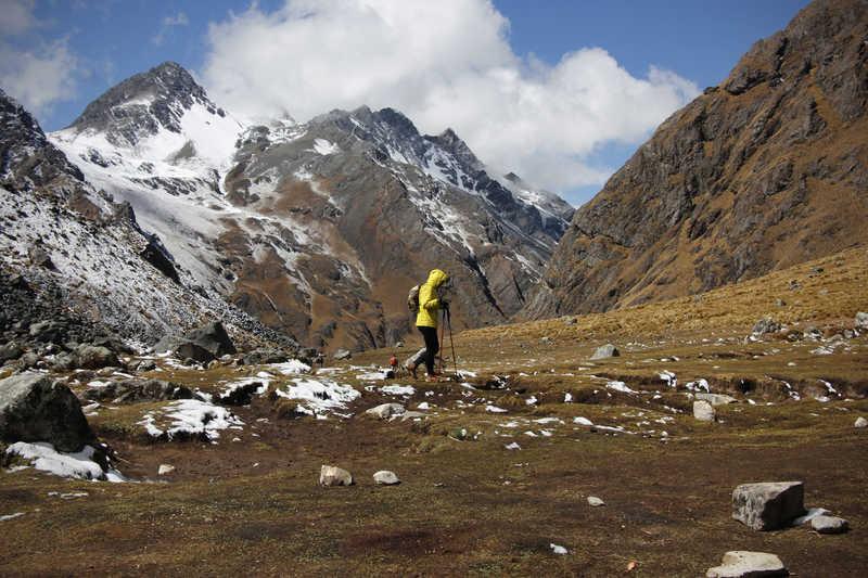 Hiker during the Salkantay Trek