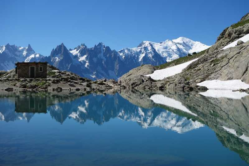 Lac Blanc in front of the Mont Blanc massif
