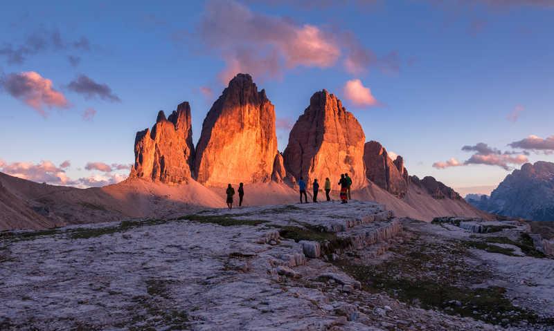 Sunrise on the Tre Cime di Lavaredo in the Dolomites