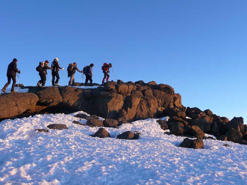 Trekkers getting closer to the Uhuru peak
