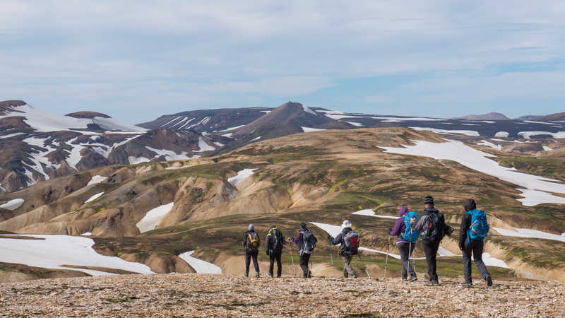 Trekkers in the Landmannalaugar region